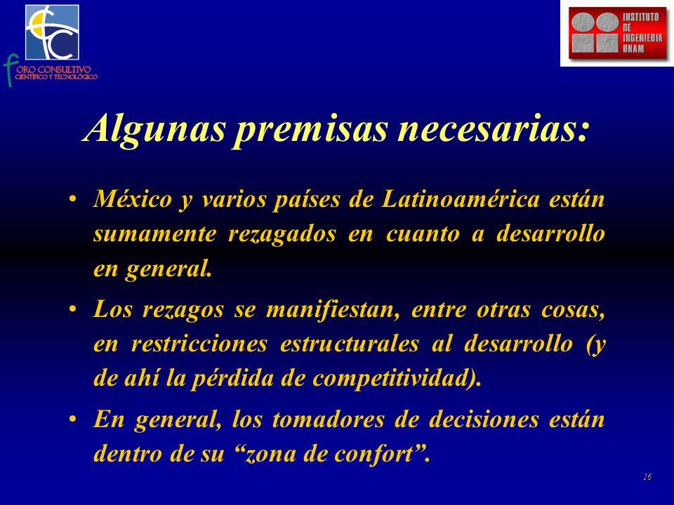 16 Algunas premisas necesarias: México y varios países de Latinoamérica están sumamente rezagados en cuanto a desarrollo en general.