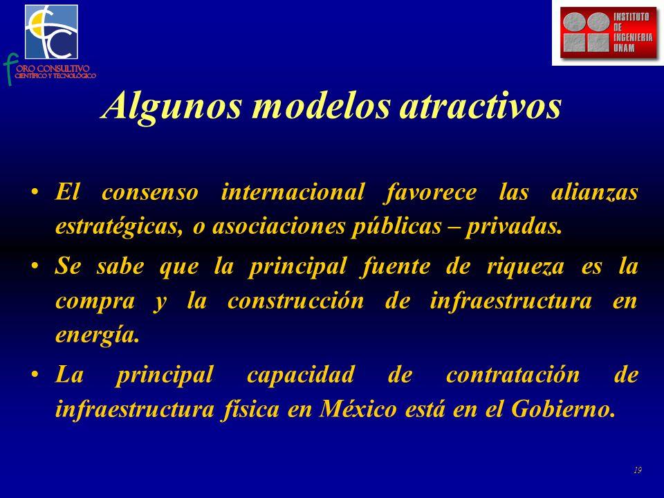 19 Algunos modelos atractivos El consenso internacional favorece las alianzas estratégicas, o asociaciones públicas – privadas.