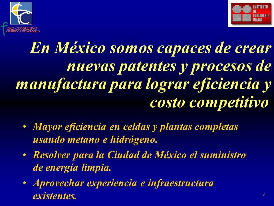 8 En México somos capaces de crear nuevas patentes y procesos de manufactura para lograr eficiencia y costo competitivo.