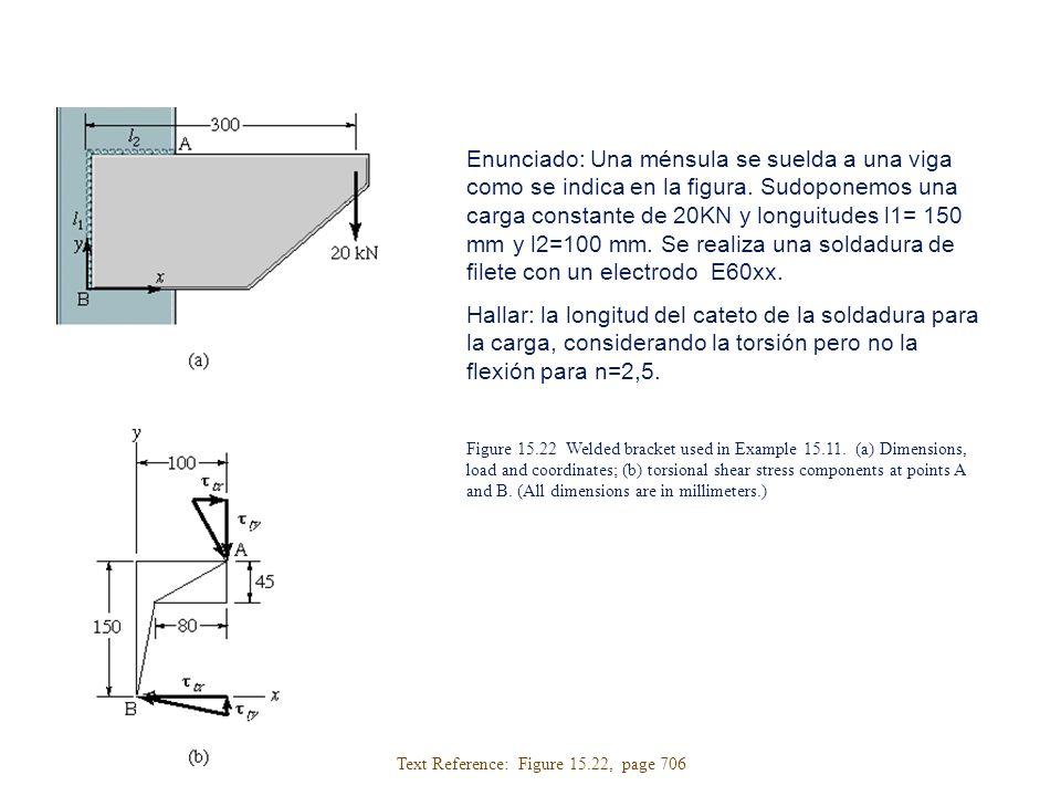 Enunciado: Una ménsula se suelda a una viga como se indica en la figura. Sudoponemos una carga constante de 20KN y longuitudes l1= 150 mm y l2=100 mm.