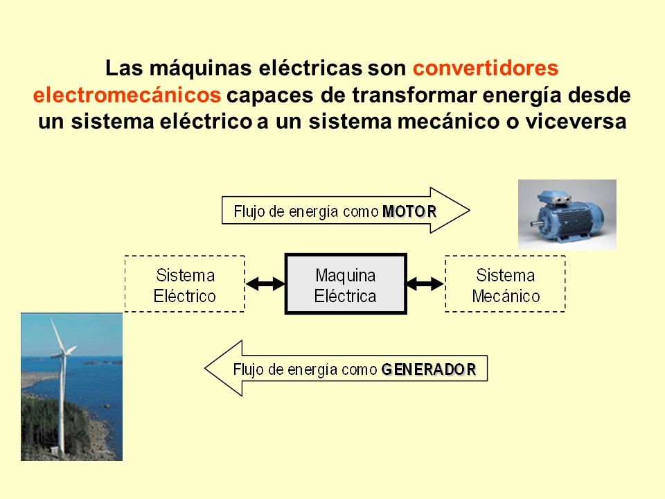 Las máquinas eléctricas son convertidores electromecánicos capaces de transformar energía desde un sistema eléctrico a un sistema mecánico o viceversa