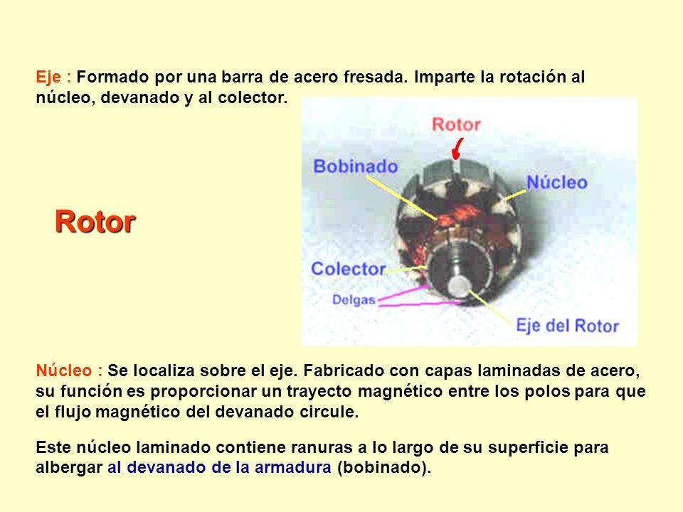 Eje : Formado por una barra de acero fresada. Imparte la rotación al núcleo, devanado y al colector. Núcleo : Se localiza sobre el eje. Fabricado con