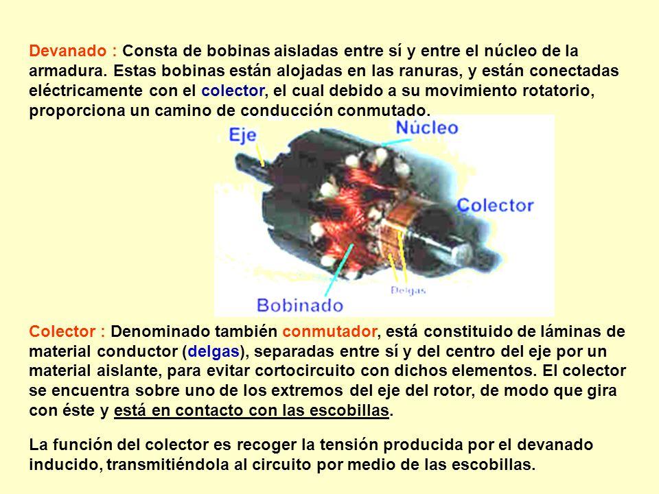 Devanado : Consta de bobinas aisladas entre sí y entre el núcleo de la armadura. Estas bobinas están alojadas en las ranuras, y están conectadas eléct