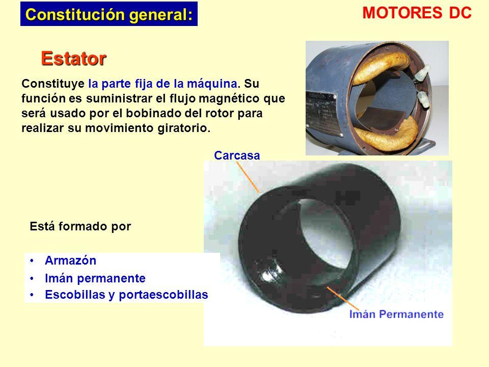 Armazón Imán permanente Escobillas y portaescobillas Estator Constituye la parte fija de la máquina. Su función es suministrar el flujo magnético que