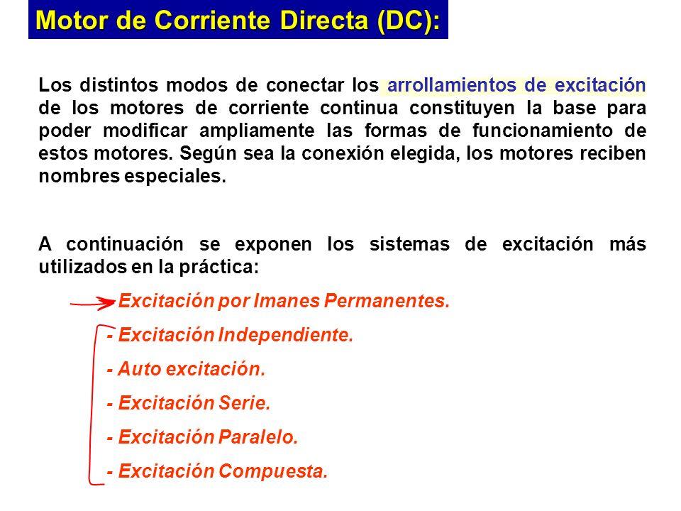 Motor de Corriente Directa (DC): Los distintos modos de conectar los arrollamientos de excitación de los motores de corriente continua constituyen la