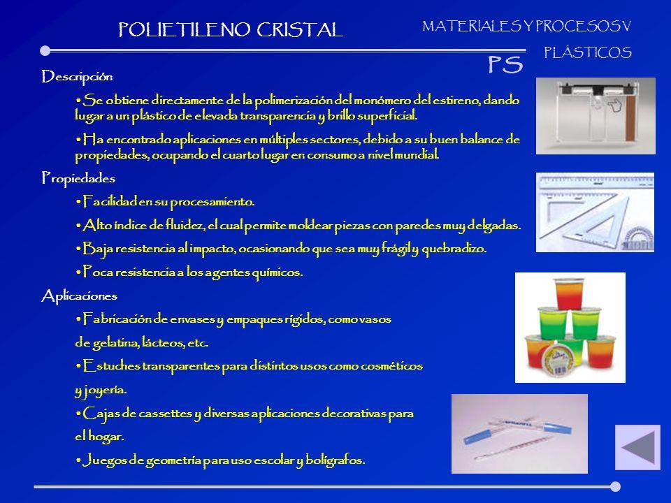 MATERIALES Y PROCESOS V PLÁSTICOS Descripción Se obtiene directamente de la polimerización del monómero del estireno, dando lugar a un plástico de ele