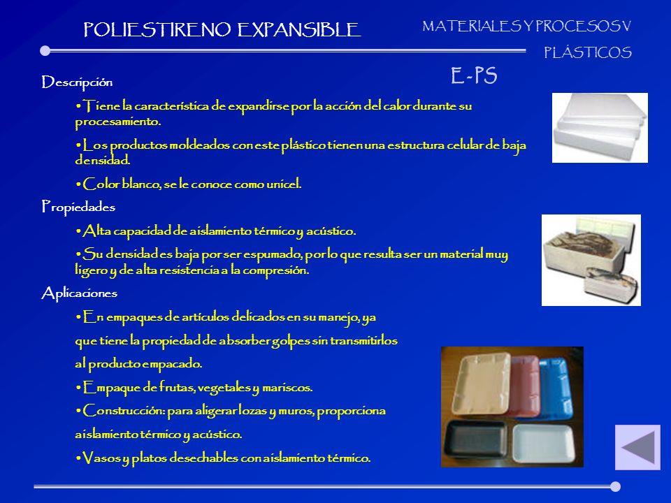 MATERIALES Y PROCESOS V PLÁSTICOS Descripción Tiene la característica de expandirse por la acción del calor durante su procesamiento. Los productos mo