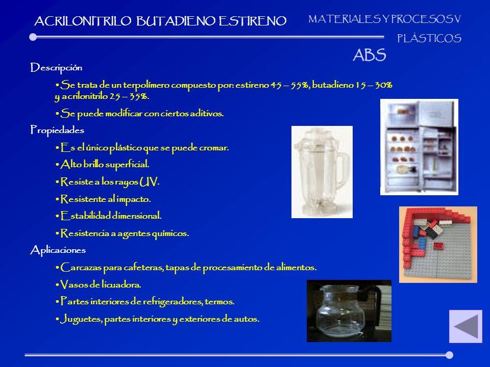 MATERIALES Y PROCESOS V PLÁSTICOS Descripción Se trata de un terpolímero compuesto por: estireno 45 – 55%, butadieno 15 – 30% y acrilonitrilo 25 – 35%