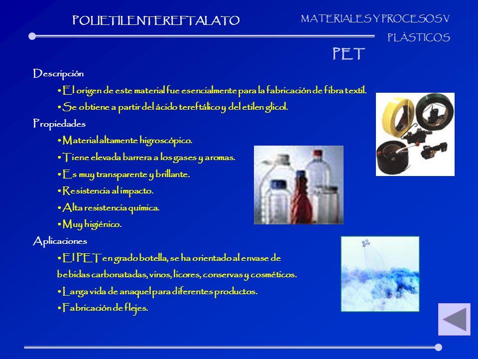 MATERIALES Y PROCESOS V PLÁSTICOS Descripción El origen de este material fue esencialmente para la fabricación de fibra textil. Se obtiene a partir de