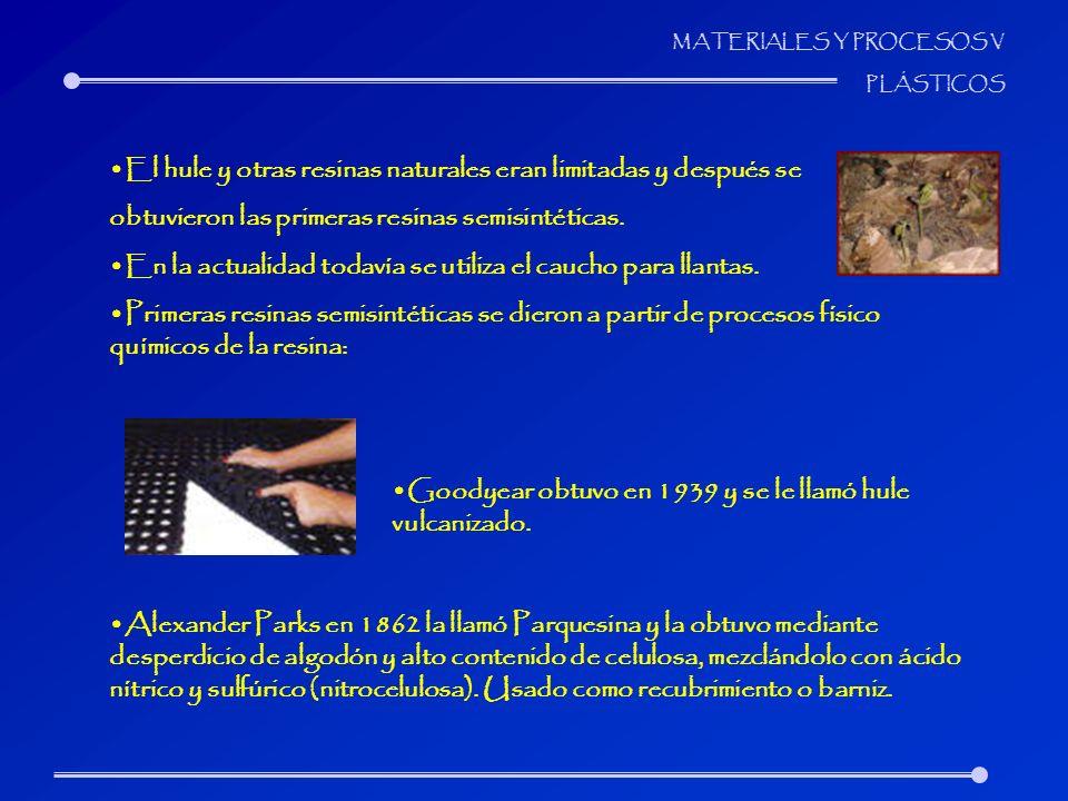 MATERIALES Y PROCESOS V PLÁSTICOS El hule y otras resinas naturales eran limitadas y después se obtuvieron las primeras resinas semisintéticas. En la