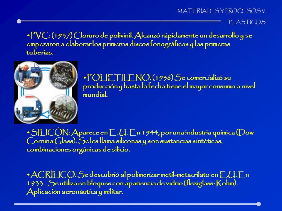 MATERIALES Y PROCESOS V PLÁSTICOS PVC: (1937) Cloruro de polivinil. Alcanzó rápidamente un desarrollo y se empezaron a elaborar los primeros discos fo
