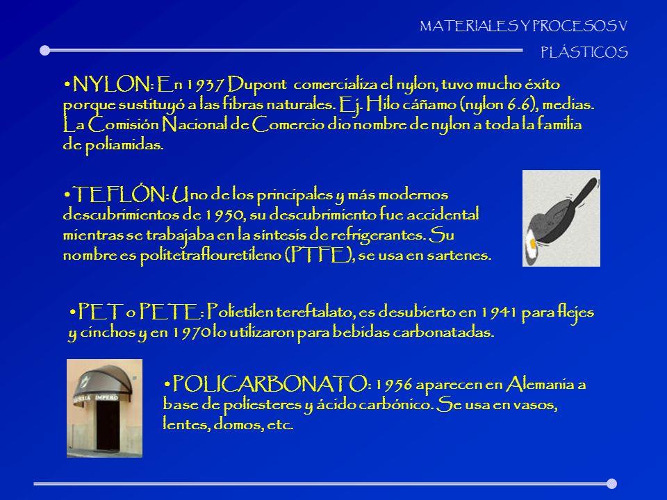 MATERIALES Y PROCESOS V PLÁSTICOS NYLON: En 1937 Dupont comercializa el nylon, tuvo mucho éxito porque sustituyó a las fibras naturales. Ej. Hilo cáña