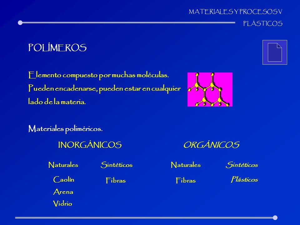 MATERIALES Y PROCESOS V PLÁSTICOS POLÍMEROS Elemento compuesto por muchas moléculas. Pueden encadenarse, pueden estar en cualquier lado de la materia.