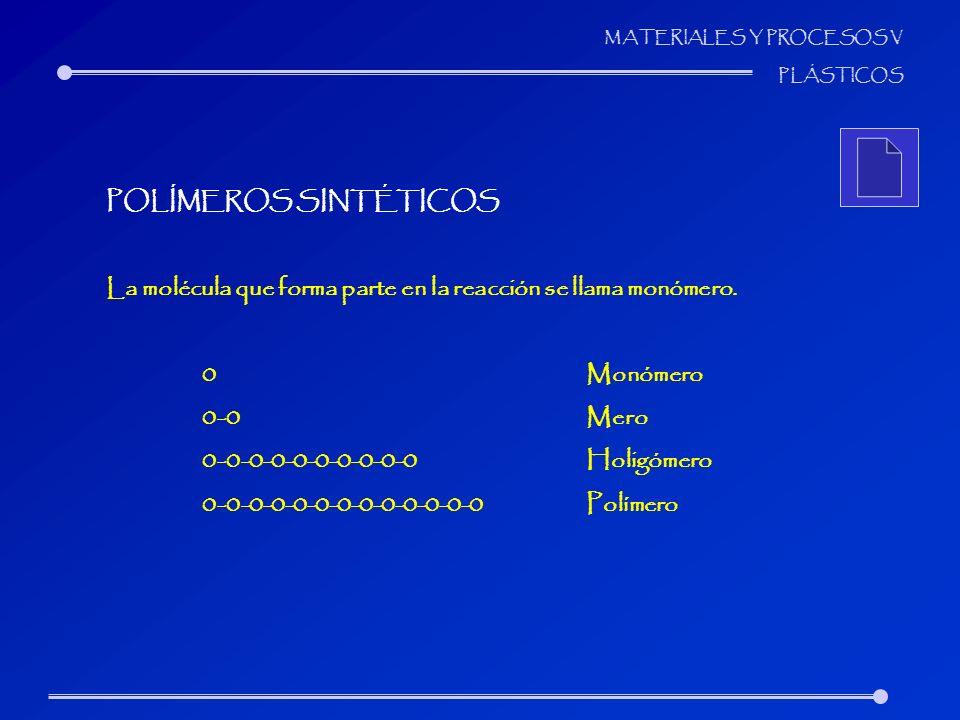 MATERIALES Y PROCESOS V PLÁSTICOS POLÍMEROS SINTÉTICOS La molécula que forma parte en la reacción se llama monómero. 0Monómero 0-0Mero 0-0-0-0-0-0-0-0