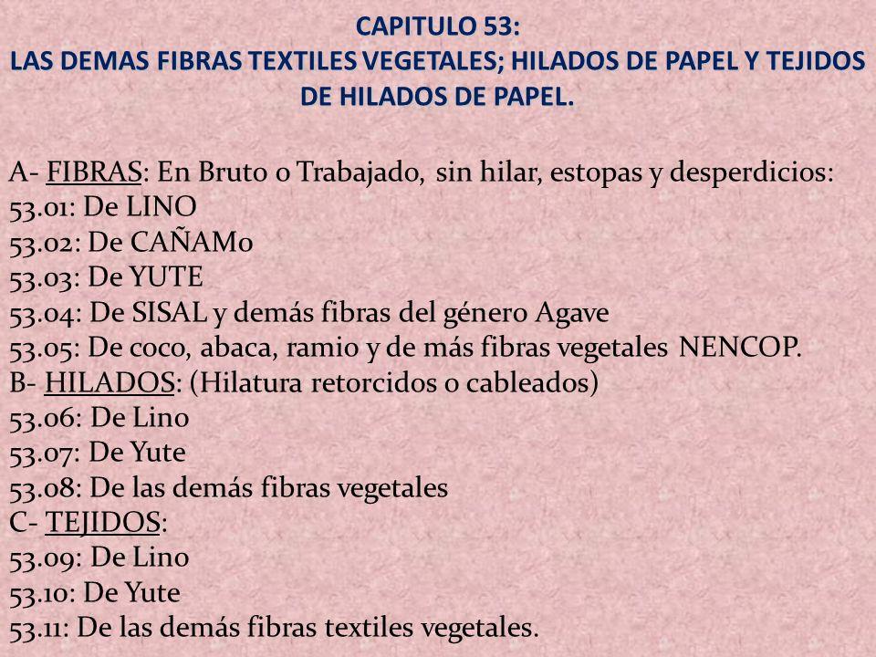 CAPITULO 53: LAS DEMAS FIBRAS TEXTILES VEGETALES; HILADOS DE PAPEL Y TEJIDOS DE HILADOS DE PAPEL. A- FIBRAS: En Bruto o Trabajado, sin hilar, estopas