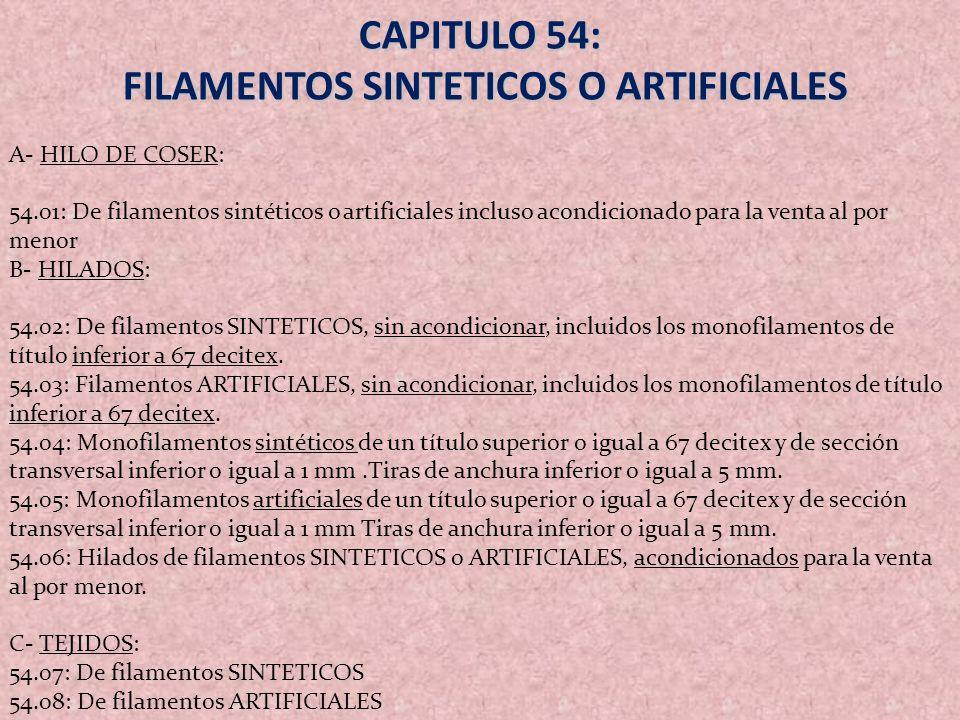 CAPITULO 54: FILAMENTOS SINTETICOS O ARTIFICIALES FILAMENTOS SINTETICOS O ARTIFICIALES A- HILO DE COSER: 54.01: De filamentos sintéticos o artificiale