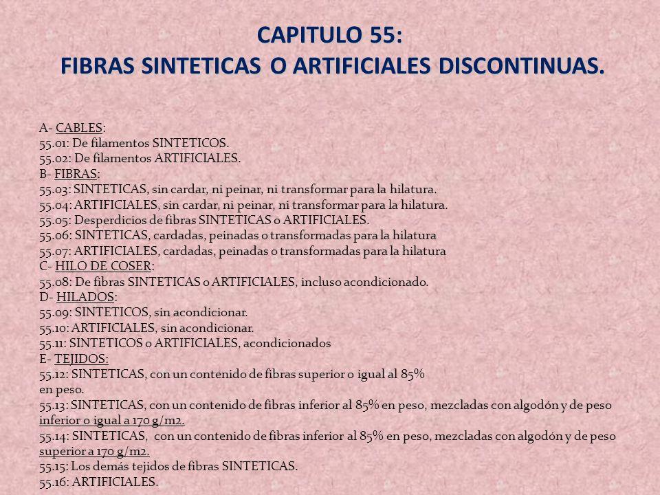 CAPITULO 55: FIBRAS SINTETICAS O ARTIFICIALES DISCONTINUAS. FIBRAS SINTETICAS O ARTIFICIALES DISCONTINUAS. A- CABLES: 55.01: De filamentos SINTETICOS.