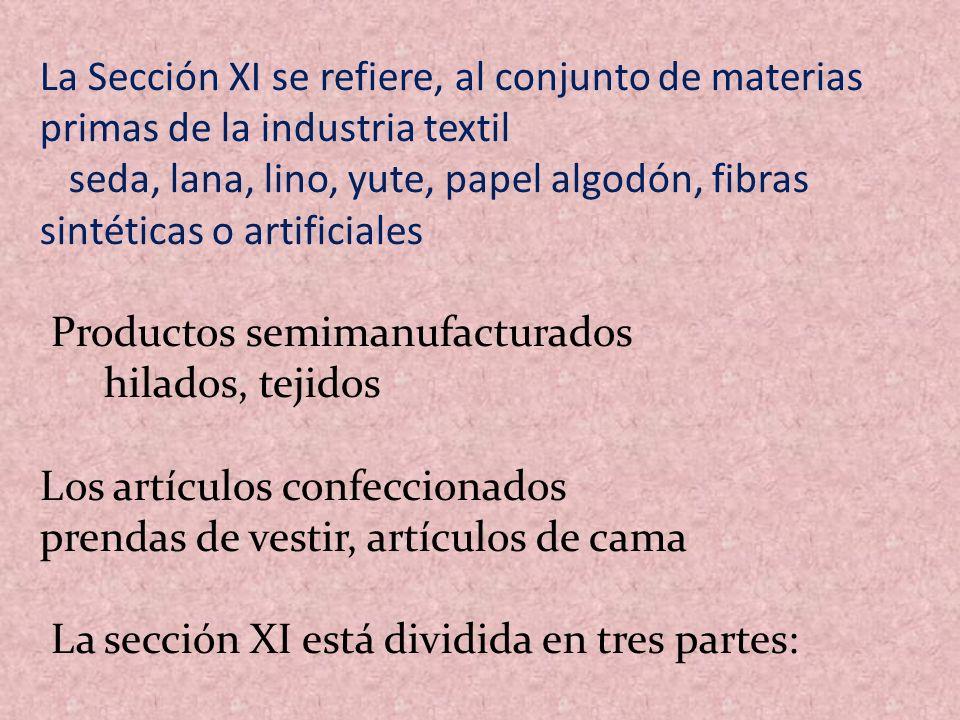 La Sección XI se refiere, al conjunto de materias primas de la industria textil seda, lana, lino, yute, papel algodón, fibras sintéticas o artificiale