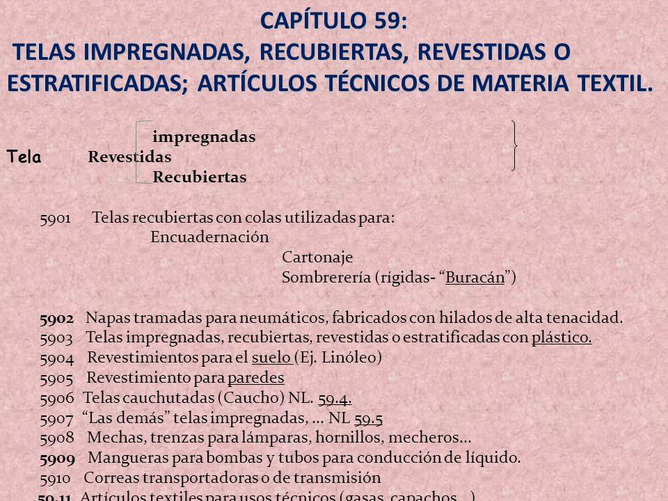 CAPÍTULO 59: TELAS IMPREGNADAS, RECUBIERTAS, REVESTIDAS O ESTRATIFICADAS; ARTÍCULOS TÉCNICOS DE MATERIA TEXTIL. TELAS IMPREGNADAS, RECUBIERTAS, REVEST