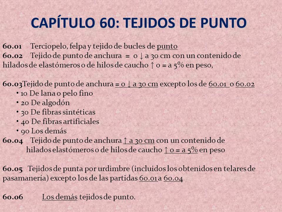 CAPÍTULO 60: TEJIDOS DE PUNTO 60.01Terciopelo, felpa y tejido de bucles de punto 60.02Tejido de punto de anchura = o a 30 cm con un contenido de hilad