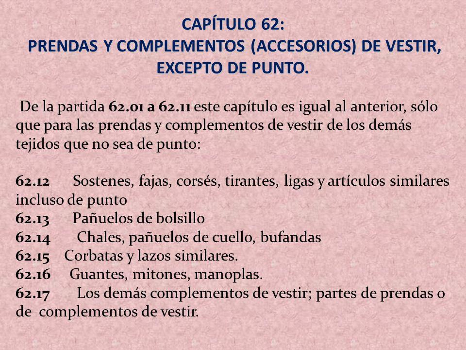 CAPÍTULO 62: PRENDAS Y COMPLEMENTOS (ACCESORIOS) DE VESTIR, EXCEPTO DE PUNTO. PRENDAS Y COMPLEMENTOS (ACCESORIOS) DE VESTIR, EXCEPTO DE PUNTO. De la p