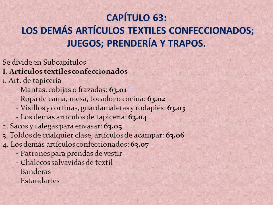 CAPÍTULO 63: LOS DEMÁS ARTÍCULOS TEXTILES CONFECCIONADOS; JUEGOS; PRENDERÍA Y TRAPOS. LOS DEMÁS ARTÍCULOS TEXTILES CONFECCIONADOS; JUEGOS; PRENDERÍA Y