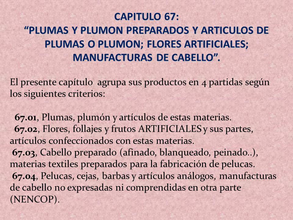 CAPITULO 67: PLUMAS Y PLUMON PREPARADOS Y ARTICULOS DE PLUMAS O PLUMON; FLORES ARTIFICIALES; MANUFACTURAS DE CABELLO. El presente capítulo agrupa sus