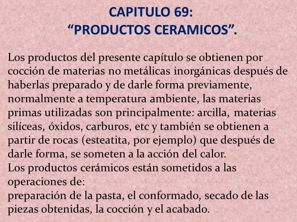CAPITULO 69: PRODUCTOS CERAMICOS. PRODUCTOS CERAMICOS. Los productos del presente capítulo se obtienen por cocción de materias no metálicas inorgánica