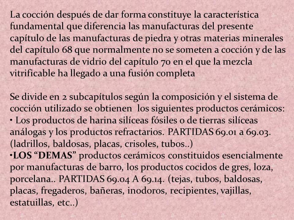 La cocción después de dar forma constituye la característica fundamental que diferencia las manufacturas del presente capítulo de las manufacturas de