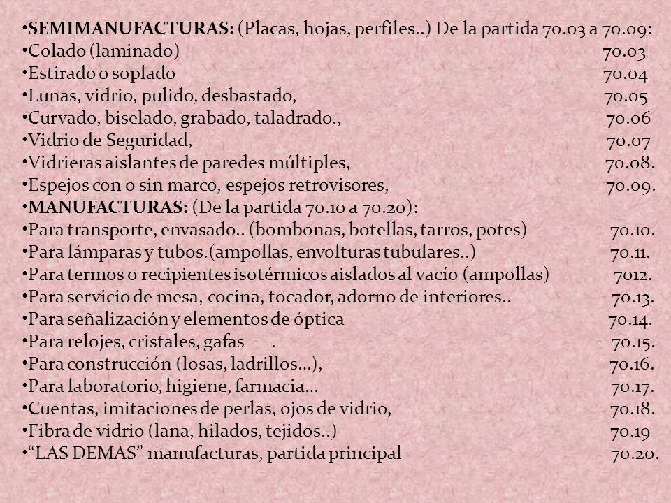 SEMIMANUFACTURAS: (Placas, hojas, perfiles..) De la partida 70.03 a 70.09: Colado (laminado) 70.03 Estirado o soplado 70.04 Lunas, vidrio, pulido, des