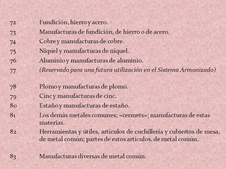 72Fundición, hierro y acero. 73Manufacturas de fundición, de hierro o de acero. 74Cobre y manufacturas de cobre. 75Níquel y manufacturas de níquel. 76