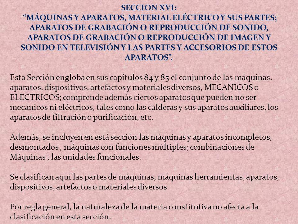 SECCION XVI: MÁQUINAS Y APARATOS, MATERIAL ELÉCTRICO Y SUS PARTES; APARATOS DE GRABACIÓN O REPRODUCCIÓN DE SONIDO, APARATOS DE GRABACIÓN O REPRODUCCIÓ