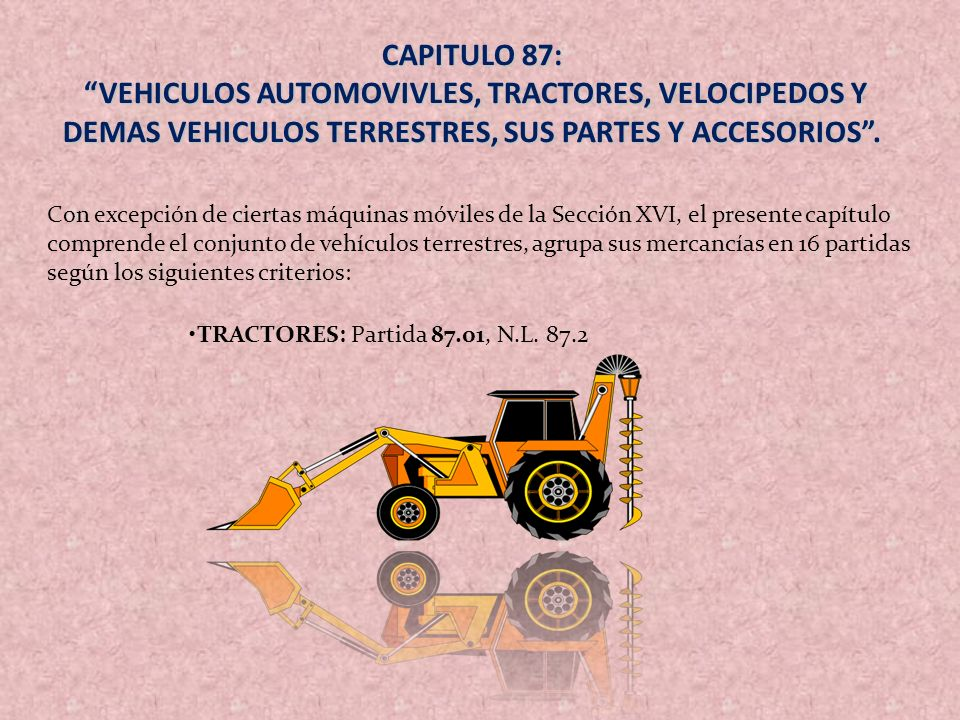Con excepción de ciertas máquinas móviles de la Sección XVI, el presente capítulo comprende el conjunto de vehículos terrestres, agrupa sus mercancías