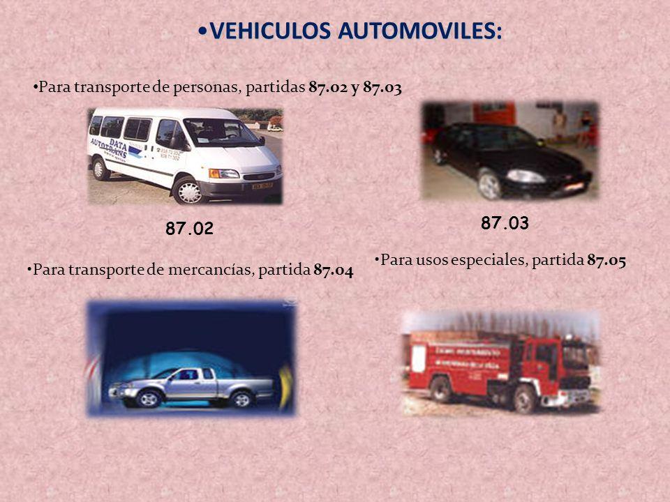 VEHICULOS AUTOMOVILES:VEHICULOS AUTOMOVILES: Para transporte de personas, partidas 87.02 y 87.03 Para transporte de mercancías, partida 87.04 Para uso
