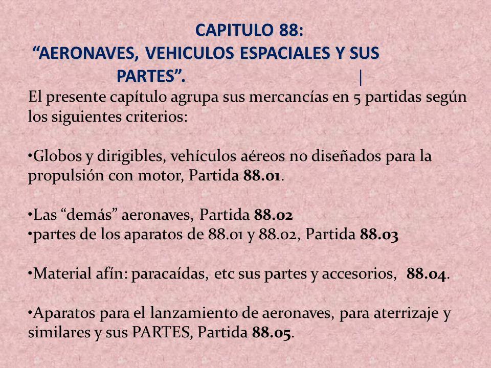 CAPITULO 88: AERONAVES, VEHICULOS ESPACIALES Y SUS PARTES. AERONAVES, VEHICULOS ESPACIALES Y SUS PARTES. | El presente capítulo agrupa sus mercancías
