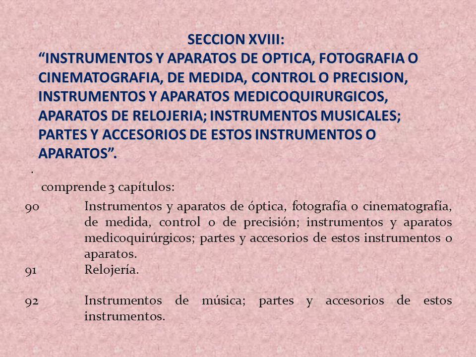. SECCION XVIII: INSTRUMENTOS Y APARATOS DE OPTICA, FOTOGRAFIA O CINEMATOGRAFIA, DE MEDIDA, CONTROL O PRECISION, INSTRUMENTOS Y APARATOS MEDICOQUIRURG