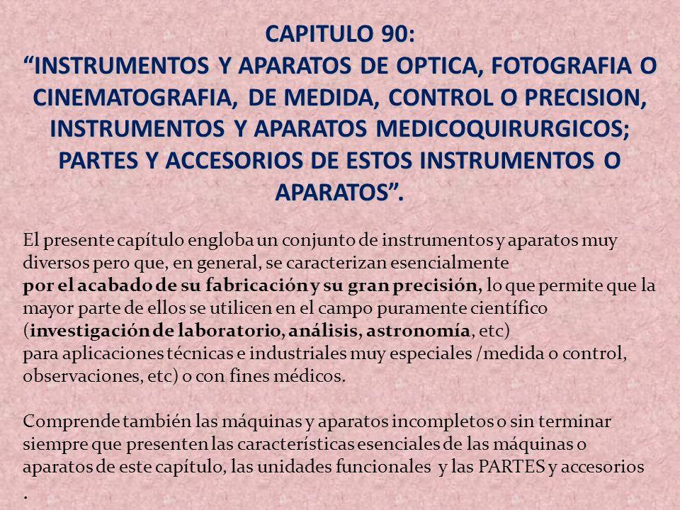 CAPITULO 90: INSTRUMENTOS Y APARATOS DE OPTICA, FOTOGRAFIA O CINEMATOGRAFIA, DE MEDIDA, CONTROL O PRECISION, INSTRUMENTOS Y APARATOS MEDICOQUIRURGICOS