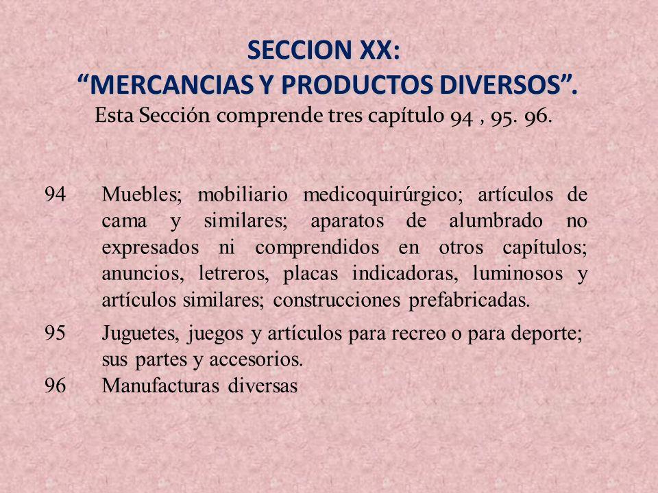SECCION XX: MERCANCIAS Y PRODUCTOS DIVERSOS. MERCANCIAS Y PRODUCTOS DIVERSOS. Esta Sección comprende tres capítulo 94, 95. 96. 94Muebles; mobiliario m