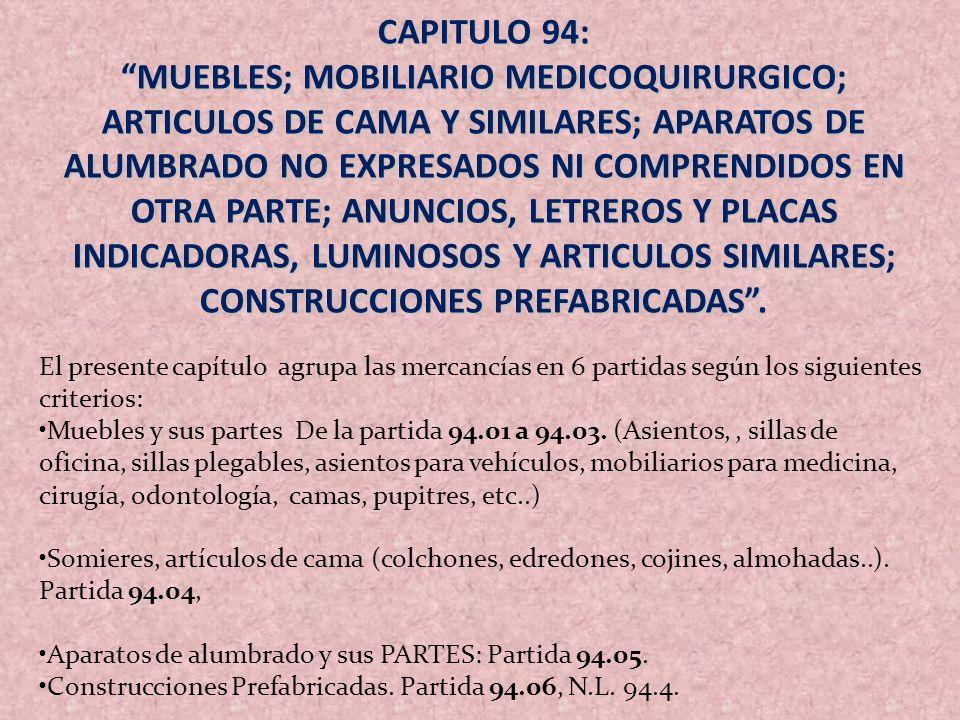 CAPITULO 94: MUEBLES; MOBILIARIO MEDICOQUIRURGICO; ARTICULOS DE CAMA Y SIMILARES; APARATOS DE ALUMBRADO NO EXPRESADOS NI COMPRENDIDOS EN OTRA PARTE; A