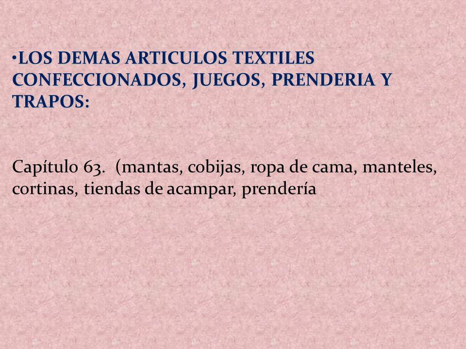 LOS DEMAS ARTICULOS TEXTILES CONFECCIONADOS, JUEGOS, PRENDERIA Y TRAPOS:LOS DEMAS ARTICULOS TEXTILES CONFECCIONADOS, JUEGOS, PRENDERIA Y TRAPOS: Capít