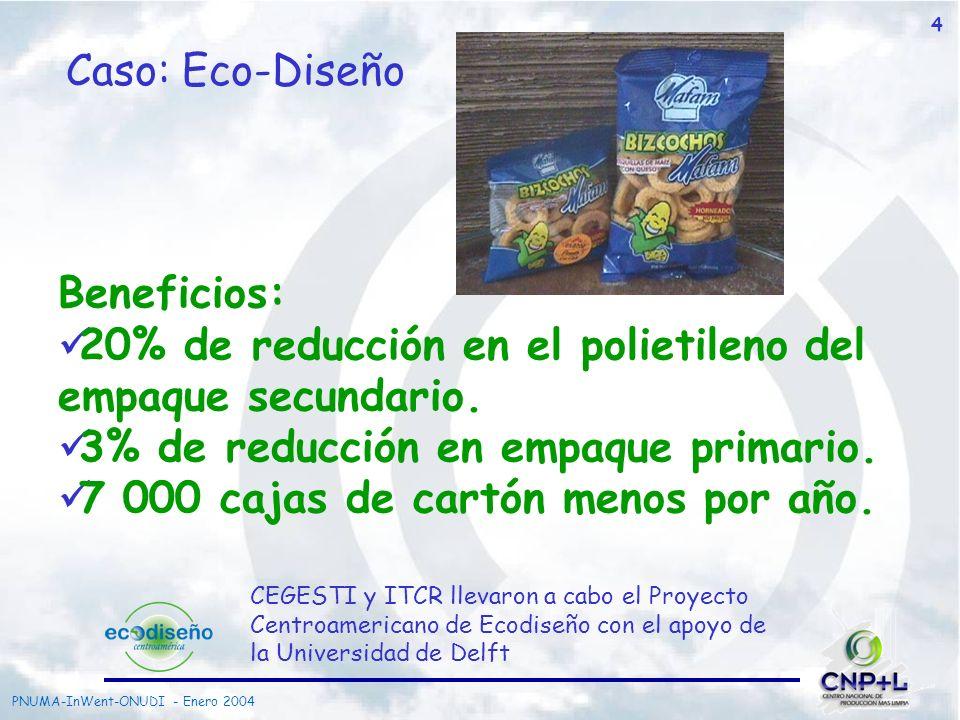 PNUMA-InWent-ONUDI - Enero 2004 4 Caso: Eco-Diseño CEGESTI y ITCR llevaron a cabo el Proyecto Centroamericano de Ecodiseño con el apoyo de la Universi