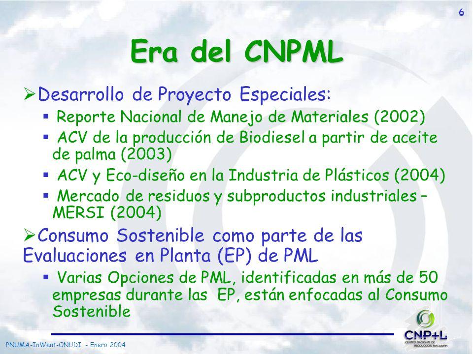 PNUMA-InWent-ONUDI - Enero 2004 7 Reporte Nacional de Manejo de Materiales Instrumento de administración Basado en un estudio de flujo de materiales Diciembre 2002
