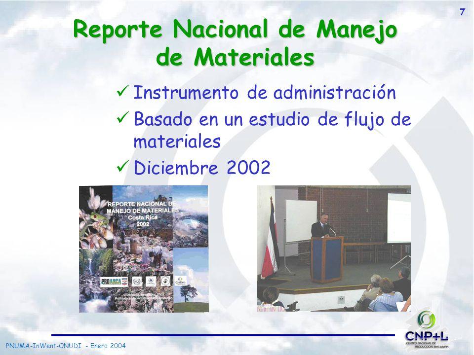 PNUMA-InWent-ONUDI - Enero 2004 8 Oportunidades identificadas en Costa Rica Varios materiales no tienen canales alternativos Otras opciones pueden existir para materiales con canales ya establecidos Puede identificar nuevos nichos para empresas ambientales dedicadas a la Recuperación, Reciclaje y Reintegración Necesidades del País Instrumentos de Administración Instrumentos de Política Dialogo de Actores Política Integrada del Producto (IPP) y Responsabilidad Extendida del Productor (EPR)