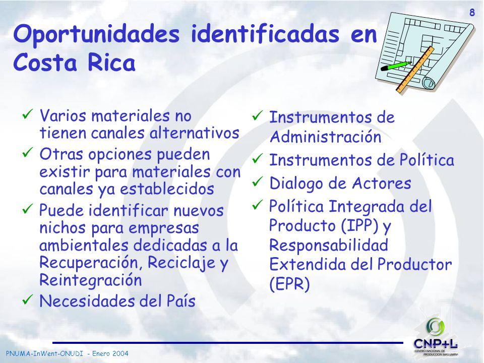 PNUMA-InWent-ONUDI - Enero 2004 8 Oportunidades identificadas en Costa Rica Varios materiales no tienen canales alternativos Otras opciones pueden exi