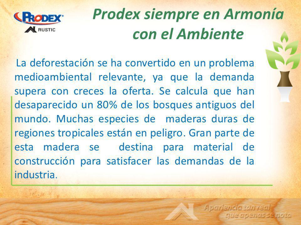 Prodex siempre en Armonía con el Ambiente La deforestación se ha convertido en un problema medioambiental relevante, ya que la demanda supera con crec