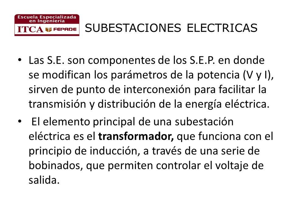 SUBESTACIONES ELECTRICAS Las S.E. son componentes de los S.E.P. en donde se modifican los parámetros de la potencia (V y I), sirven de punto de interc