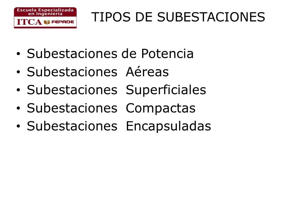 TIPOS DE SUBESTACIONES Subestaciones de Potencia Subestaciones Aéreas Subestaciones Superficiales Subestaciones Compactas Subestaciones Encapsuladas
