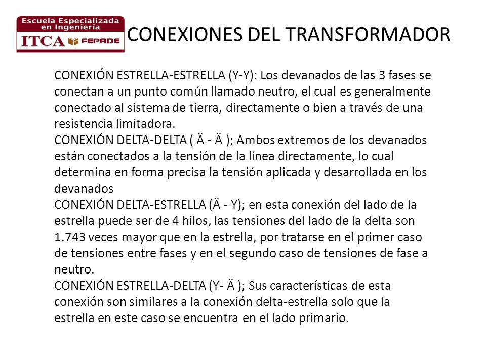 CONEXIÓN ESTRELLA-ESTRELLA (Y-Y): Los devanados de las 3 fases se conectan a un punto común llamado neutro, el cual es generalmente conectado al sistema de tierra, directamente o bien a través de una resistencia limitadora.