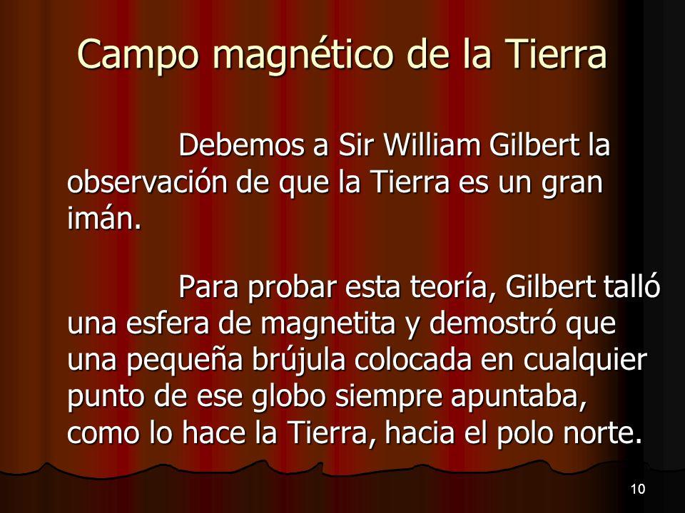 Campo magnético de la Tierra Debemos a Sir William Gilbert la observación de que la Tierra es un gran imán. Para probar esta teoría, Gilbert talló una