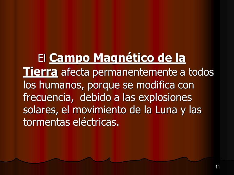El Campo Magnético de la Tierra afecta permanentemente a todos los humanos, porque se modifica con frecuencia, debido a las explosiones solares, el mo